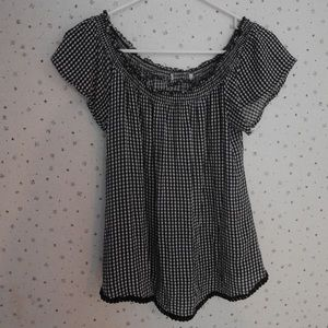 Off the shoulder checkered top
